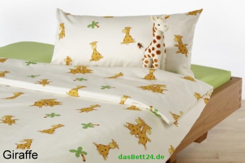 dasbett24 kinderbettw sche mit giraffen in biber qualit t. Black Bedroom Furniture Sets. Home Design Ideas