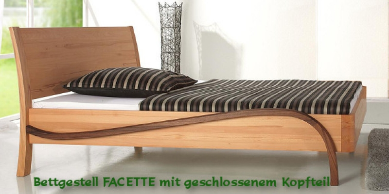 dasbett24 massivholzbett facette mit dem besonderen holzmix. Black Bedroom Furniture Sets. Home Design Ideas